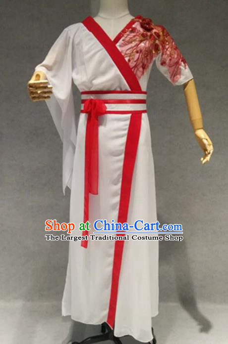 Traditional Chinese Classical Dance Costume China Martial Arts Dance White Clothing for Men