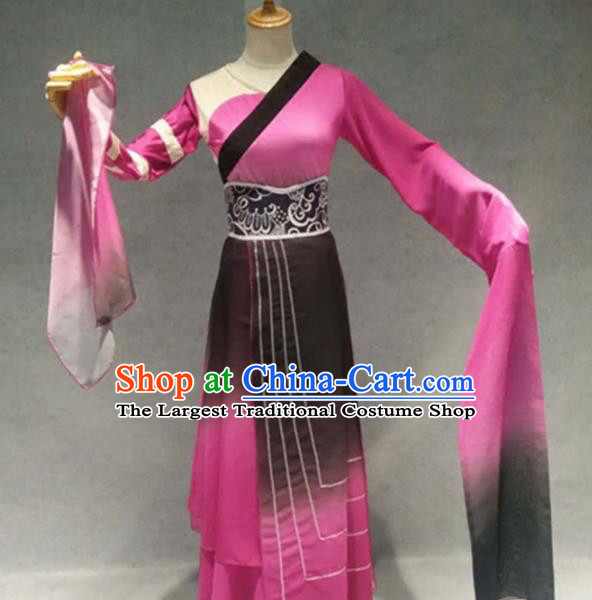 Traditional Chinese Classical Dance Costume China Stage Performance Dance Rosy Dress for Women