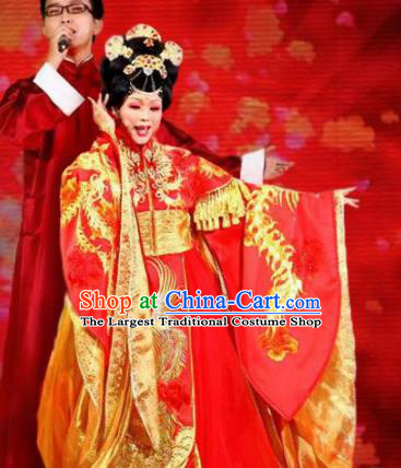 Traditional Chinese Ancient Tang Dynasty Imperial Concubine Yang Red Historical Costume Complete Set