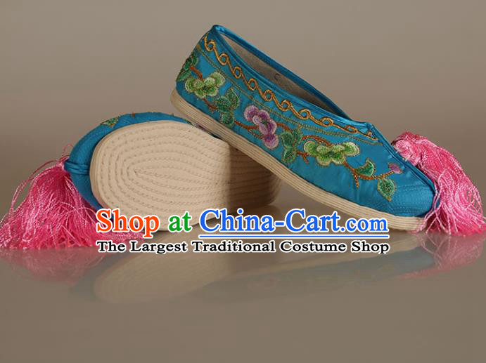 Asian Chinese Beijing Opera Shoes Blue Satin Embroidered Shoes Traditional Peking Opera Diva Shoes