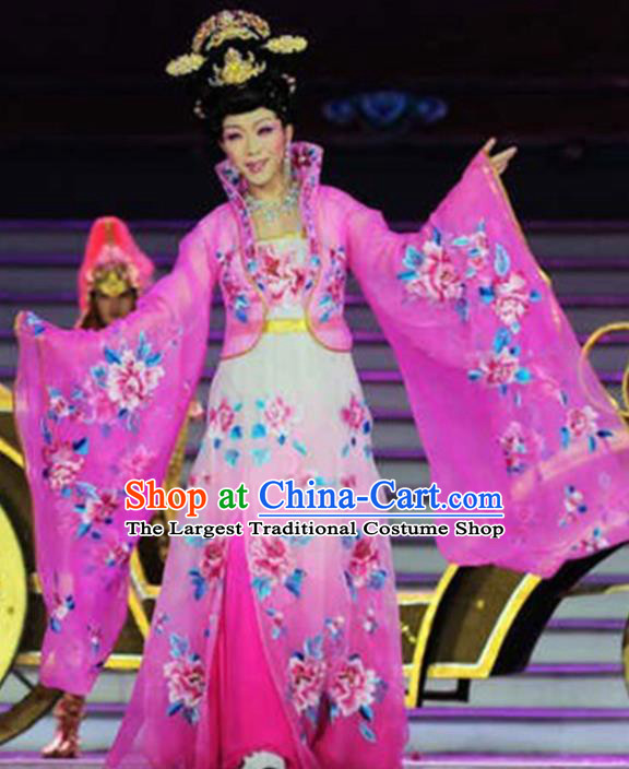 Traditional Chinese Ancient Tang Dynasty Imperial Concubine Pink Historical Costume Complete Set