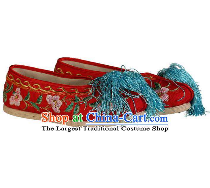 Asian Chinese Beijing Opera Shoes Red Satin Embroidered Shoes Traditional Peking Opera Diva Shoes