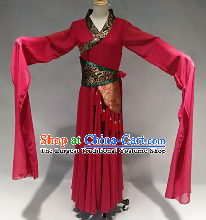 Traditional Chinese Classical Dance Costume Ancient Peri Red Water Sleeve Dress for Women