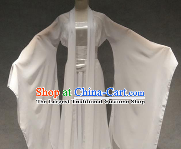 Traditional Chinese Classical Dance Costume Ancient Peri White Dress for Women