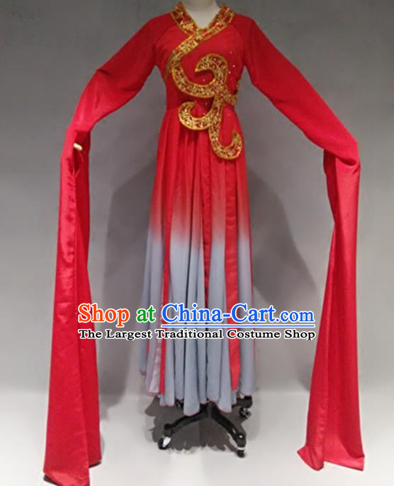 Traditional Chinese Classical Dance Costume Stage Performance Red Dress for Women