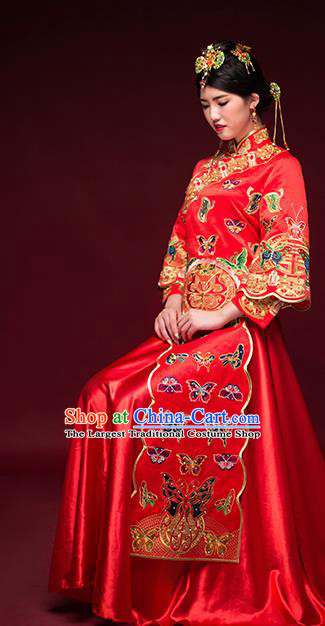 Traditional Chinese Ancient Wedding Costume Bride Embroidered Butterfly Xiuhe Suits for Women