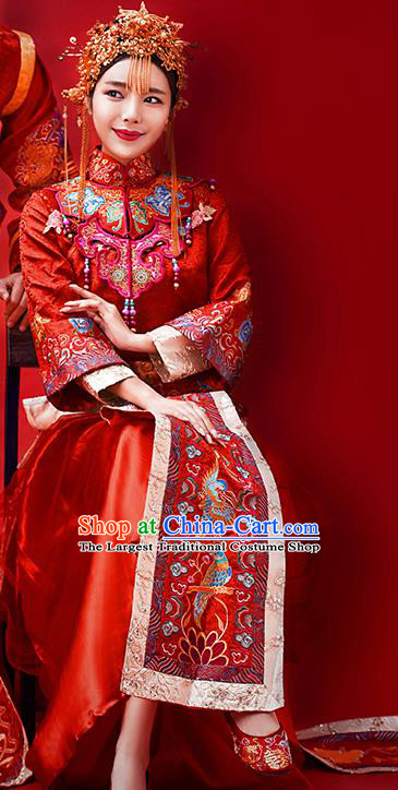 Traditional Chinese Ancient Wedding Costume Bride Embroidered Red Xiuhe Suits for Women