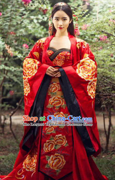 Traditional Chinese Wedding Costume Ancient Imperial Concubine Embroidered Red Hanfu Dress for Women