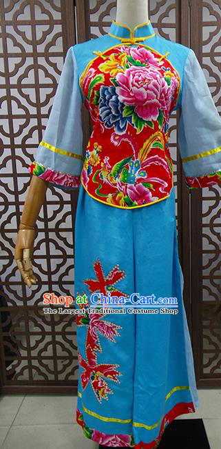 Traditional Chinese Beijing Opera Actress Costume Peking Opera Maidservants Blue Clothing