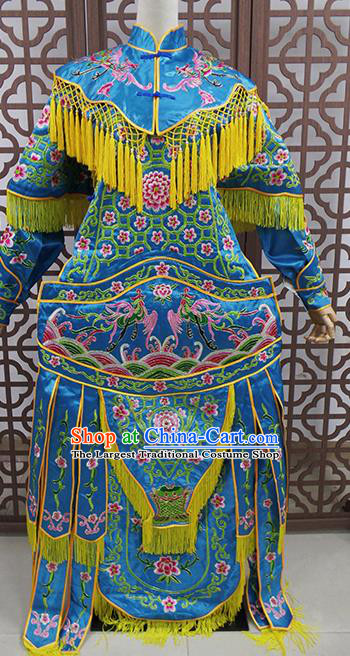 Traditional Chinese Beijing Opera Female General Costume Peking Opera Warriors Blue Clothing