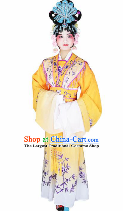 Traditional Chinese Beijing Opera Princess Costume Peking Opera Diva Yellow Dress