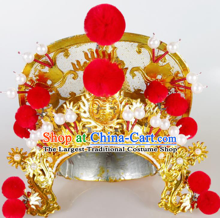 Asian Chinese Beijing Opera Soldier Headwear Traditional Peking Opera Takefu Helmet