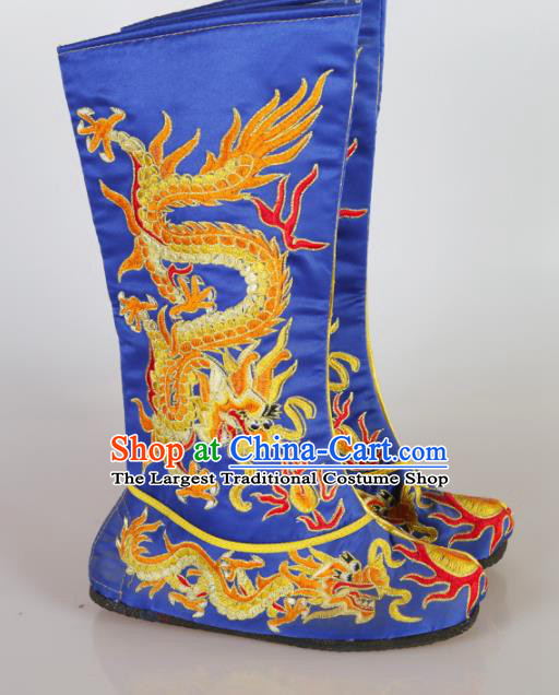 Asian Chinese Beijing Opera Shoes Emperor Royalblue Embroidered Boots Traditional Peking Opera Shoes