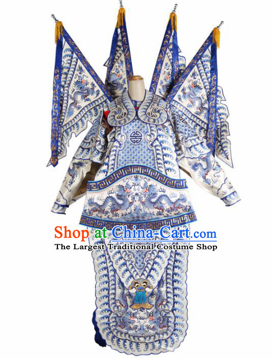 Chinese Traditional Beijing Opera General Costume Peking Opera Takefu White Clothing