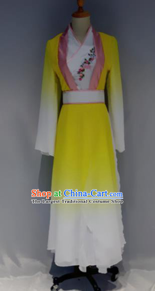 Traditional Chinese Classical Dance Costume Folk Dance Yellow Dress for Women