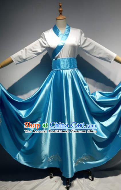Traditional Chinese Mongol Nationality Dance Costume Mongols Ethnic Folk Dance Blue Dress for Women