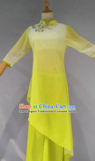 Traditional Chinese Folk Dance Costume China Yangko Dance Yellow Clothing for Women