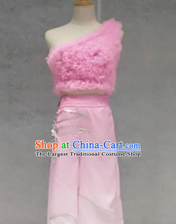 Traditional Chinese Folk Dance Costume China Classical Dance Pink Clothing for Women