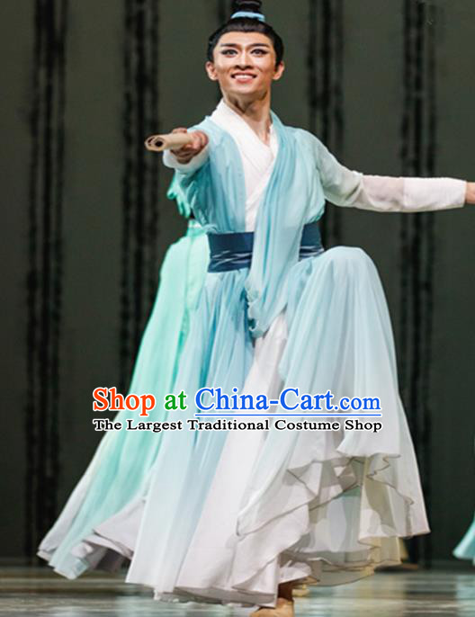 Traditional Chinese Classical Dance Costume China Folk Dance Green Clothing for Men