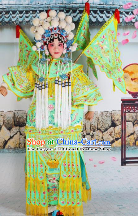 Traditional Chinese Beijing Opera Female General Green Costume Peking Opera Magic Warriors Clothing