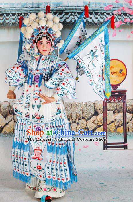 Traditional Chinese Beijing Opera Female General White Costume Peking Opera Magic Warriors Clothing