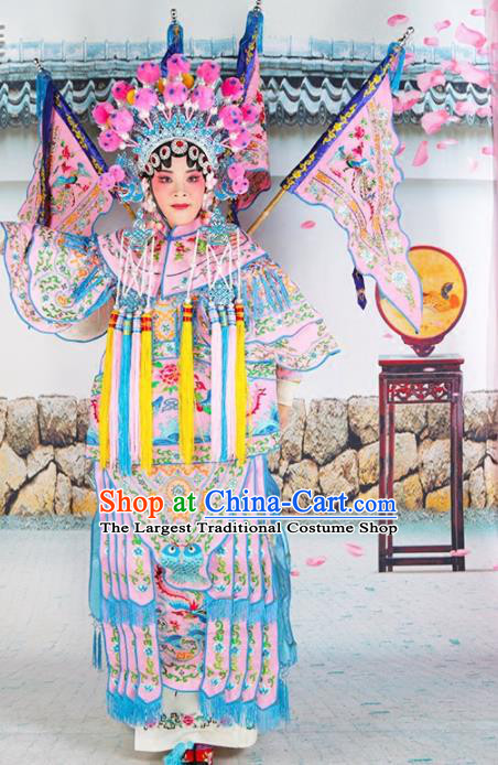 Traditional Chinese Beijing Opera Female General Pink Costume Peking Opera Magic Warriors Clothing