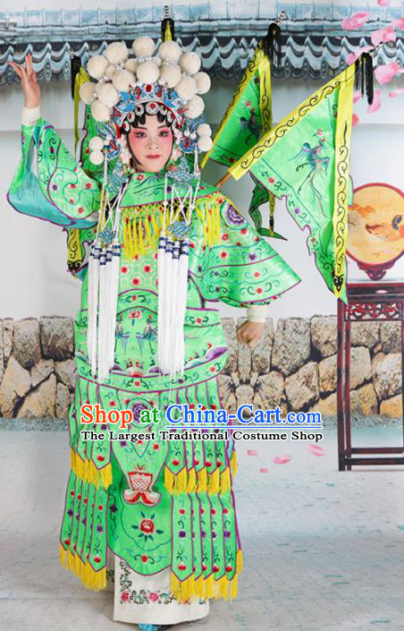 Traditional Chinese Beijing Opera Female General Deep Green Costume Peking Opera Magic Warriors Clothing