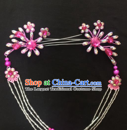 Asian Chinese Beijing Opera Hair Accessories Rosy Rhinestone Hairpins Tassel Step Shake for Women