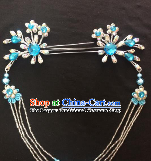 Asian Chinese Beijing Opera Hair Accessories Blue Rhinestone Hairpins Tassel Step Shake for Women