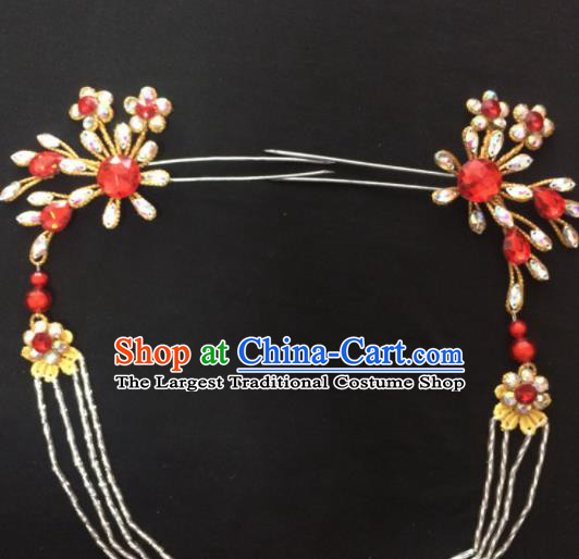 Asian Chinese Beijing Opera Hair Accessories Rhinestone Hairpins Tassel Step Shake for Women