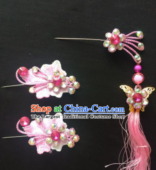 Asian Chinese Beijing Opera Hair Accessories Pink Tassel Hairpins Complete Set for Women