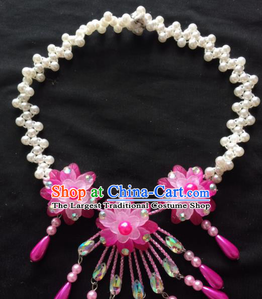 Asian Chinese Beijing Opera Jewelry Accessories Stage Performance Pink Flower Necklace for Women