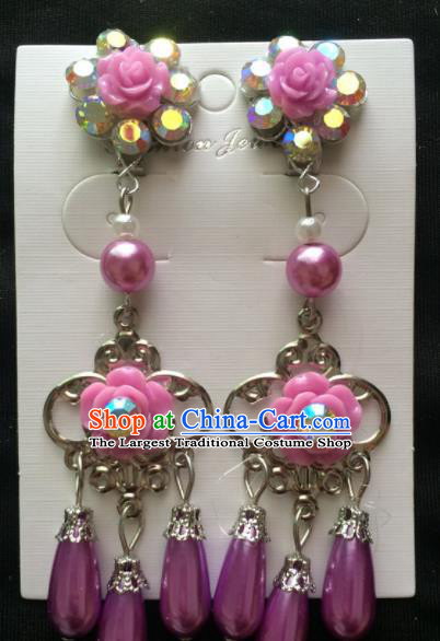 Asian Chinese Beijing Opera Jewelry Accessories Purple Rose Earrings for Women
