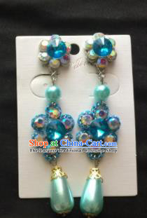 Asian Chinese Beijing Opera Jewelry Accessories Blue Rhinestone Earrings for Women
