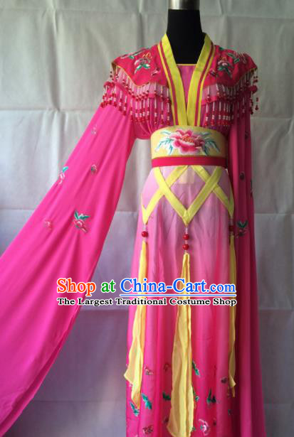 Traditional Chinese Beijing Opera Peri Costume Ancient Princess Rosy Hanfu Dress for Women