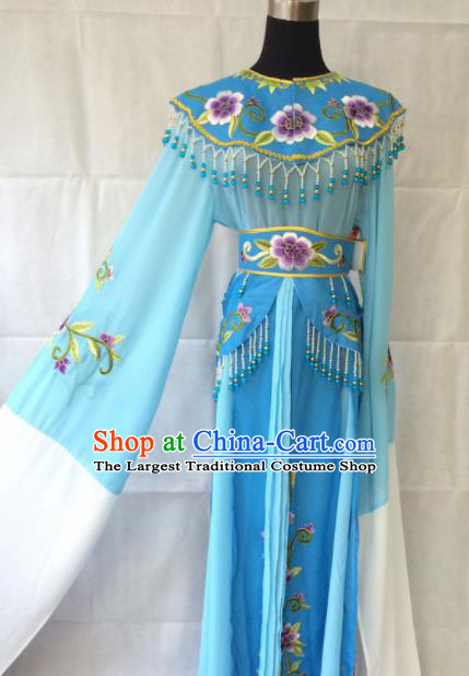 Traditional Chinese Beijing Opera Diva Peri Costume Ancient Princess Blue Hanfu Dress for Women