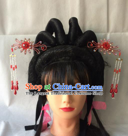 Asian Chinese Beijing Opera Hair Accessories Red Tassel Hairpins for Women