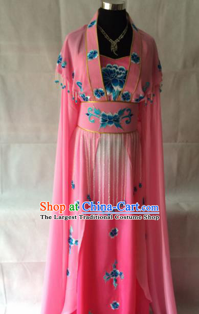 Traditional Chinese Beijing Opera Palace Costume Ancient Princess Pink Dress for Women