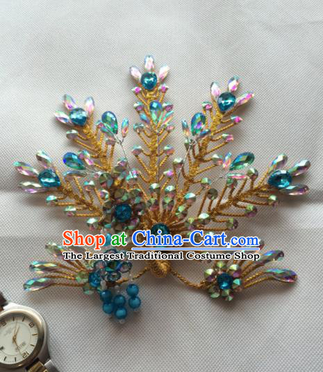 Asian Chinese Beijing Opera Hair Accessories Golden Phoenix Hair Clip Ancient Princess Hairpins for Women