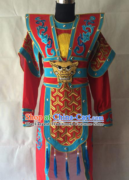 Traditional Chinese Beijing Opera Takefu Costume Peking Opera General Red Clothing