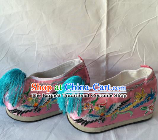 Asian Chinese Beijing Opera Shoes Ancient Princess Shoes Pink Embroidered Shoes for Women