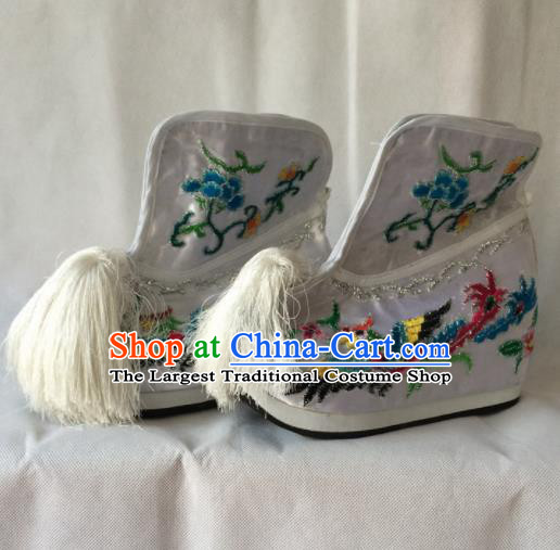 Asian Chinese Beijing Opera Shoes Ancient Princess Boots White Embroidered Shoes for Women