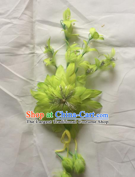 Asian Chinese Beijing Opera Hair Accessories Ancient Princess Green Feather Hairpins for Women
