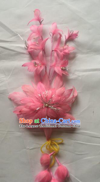 Asian Chinese Beijing Opera Hair Accessories Ancient Princess Pink Feather Hairpins for Women