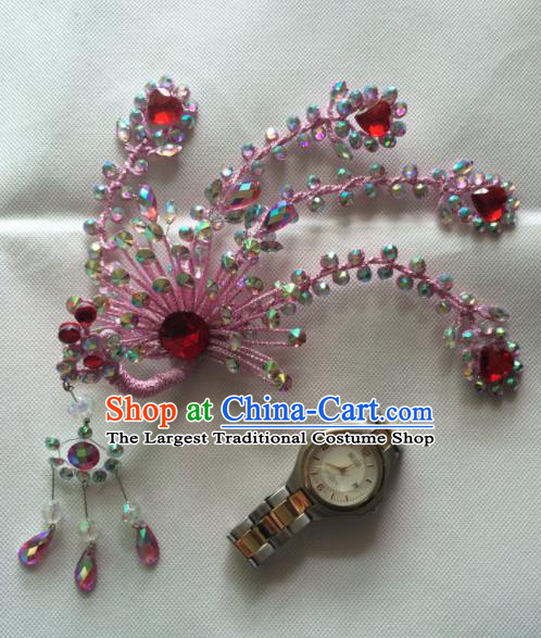 Asian Chinese Beijing Opera Actress Hair Accessories Pink Phoenix Hair Clip Ancient Princess Hairpins for Women