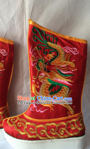 Asian Chinese Beijing Opera Takefu Red Embroidered Boots Ancient Emperor Shoes for Men