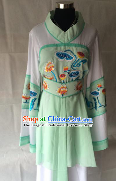 Traditional Chinese Beijing Opera Costume Ancient Maidservants Green Dress for Women