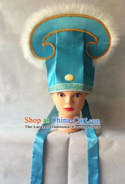 Asian Chinese Traditional Beijing Opera Niche Headwear Ancient Nobility Childe Blue Hat for Men