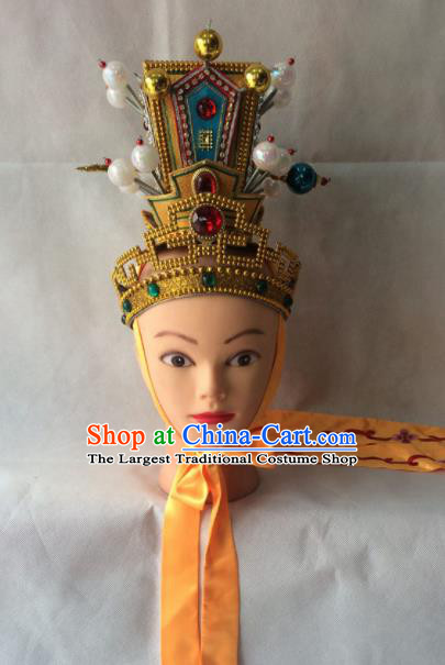 Asian Chinese Traditional Beijing Opera Niche Headwear Ancient Crown Prince Hat for Men