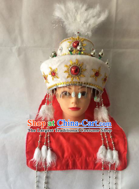 Asian Chinese Beijing Opera Actress Hair Accessories Ancient Hui Ethnic Princess Hat for Women